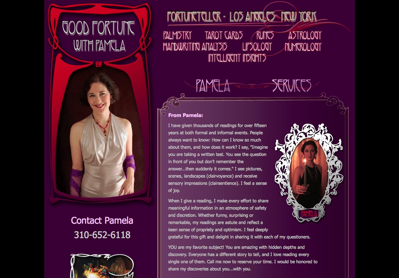 Screenshot of Good Fortune With Pamela website