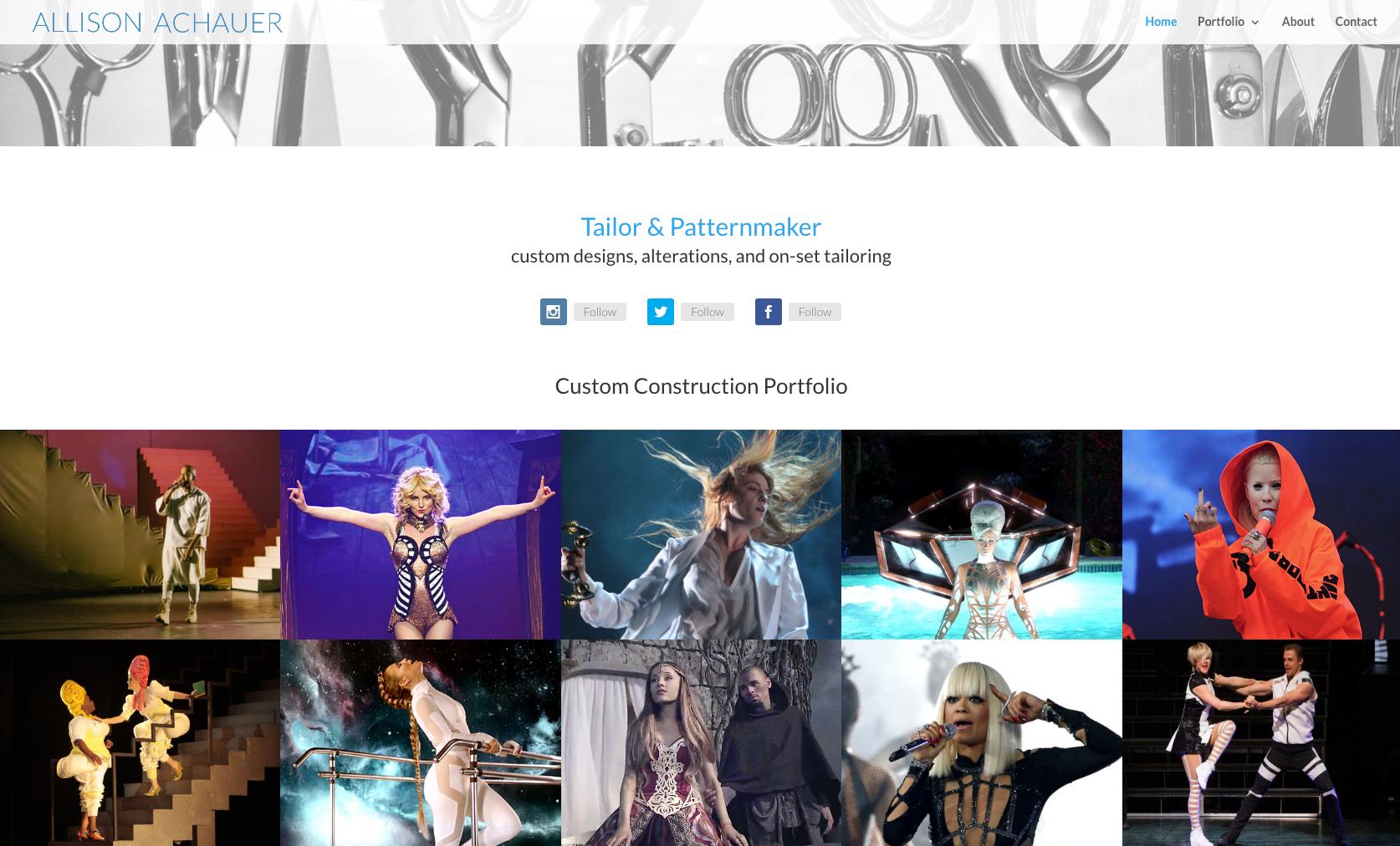 Screenshot of Allison Achauer website